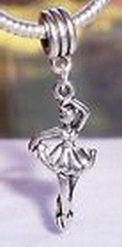 [Beads Hut - Ballerina Ballet Dancer Dance Dangle Bead for Silver European Charm Bracelets] (Aztec Dancers Costumes)