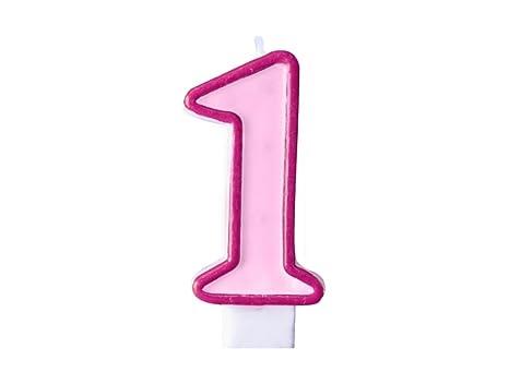 Muñeco de peluche - Vela Número 1 rosa para niña