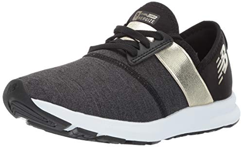New Balance Women's Nergize V1 FuelCore Sneaker, Black with Gold, (Best Golds Gym Balances)