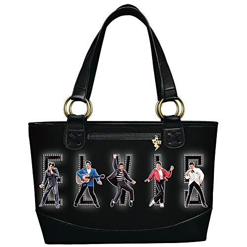 (Elvis Presley King Of Rock & Roll Classic Black Tote Bag w/Leather Accents)