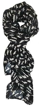 Modern Minute's Fashionable Feline Chiffon Feel Cat Scarf in Black