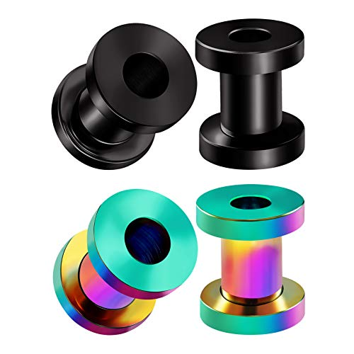 BIG GAUGES 2 Pairs Steel Rainbow Anodized 4g Gauge 5mm Black Screw Flesh Tunnels Piercing Jewelry Earring Stretcher Ear Plug Lobe BG4059 ()