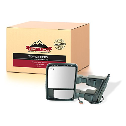 Trail Ridge Towing Side View Mirror Power Folding Heated Smoked Signal Memory Driver Side Left LH for Ford Super Duty Trucks (F250, F350, F450)