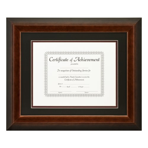 nch Mahogany Document Frame, Double Mat with Single 8.5x11-Inch Opening ()