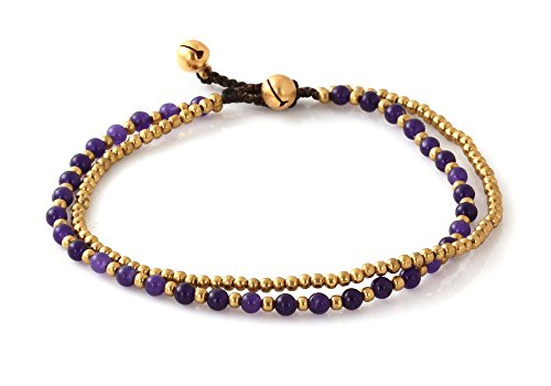 MGD, Purple Amethyst Color Bead and Brass Bell Anklet. 2-strand Anklets Beautiful Handmade Brass Anklet. Small Anklets. Ankle Bracelet. Fashion Jewelr…