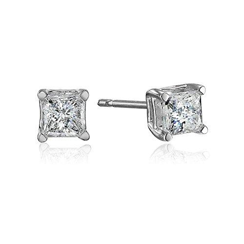 10k White Gold Princess-Cut Diamond Stud Earrings (1/2 cttw, J-K Color, I2-I3 Clarity)