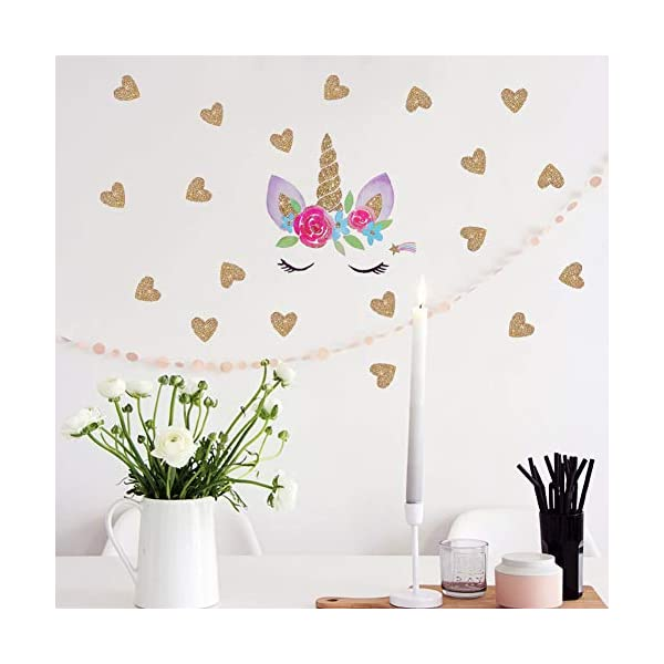 Accmor Unicorn Wall Decals, Unicorn Wall Sticker Decor, Unicorn DIY Stickers for Baby Girls Kids Bedroom Playroom Party Decoration 5
