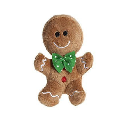 10cm Plush Gingerbread Man Soft Toy with Green Bow Tie - Christmas Soft Toys - Christmas Decorations ()