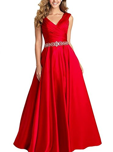 Beading A-line Formal Evening Dress Maxi Bridesmaid Gown Sleeveless Red Size ()
