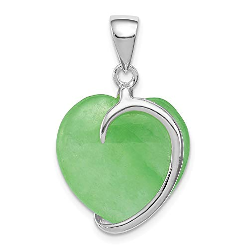 925 Sterling Silver Green Jade Heart Pendant Charm Necklace Love Ful Fine Jewelry Gifts For Women For Her