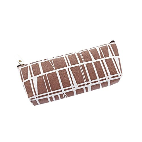 Mikey Store Pencil Case Bag,Canvas Cosmetic Makeup Bag Storage Pouch,Big Capacity. (Coffee)