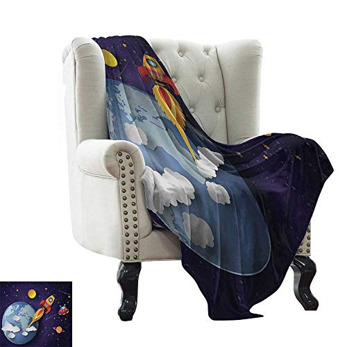 BelleAckerman Summer Blanket Outer Space,Rocket on Planetary System with Earth Stars UFO Saturn Sun Galaxy Boys Print,Multicolor Microfiber All Season Blanket for Bed or Couch 60