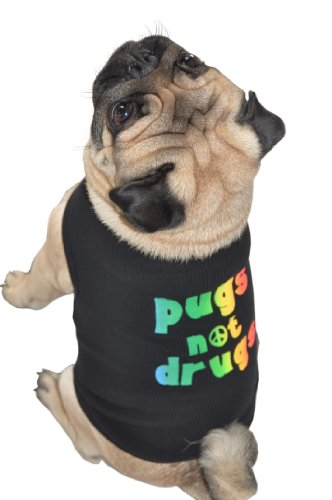 Doggie Tank Top, Pugs Not Drugs, Black, Medium