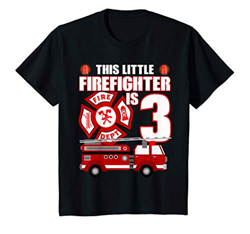- Kids 3 Year Old Firefighter Birthday T Shirt Fire Truck 3rd Gift