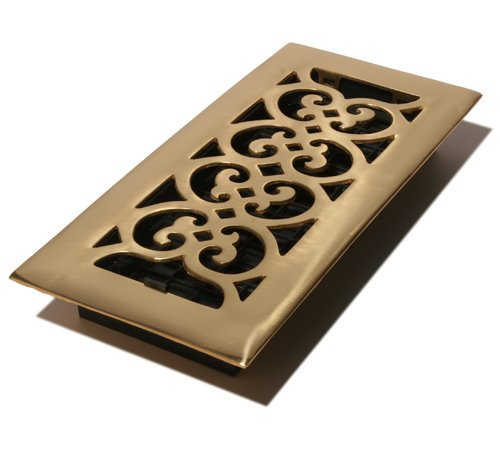 Decor Grates HS410 4-Inch by 10-Inch Scroll Floor Register, Solid Brass (Brass Solid Floor Register)