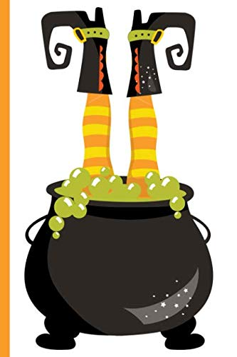 Witch Upside Down in Cauldron with Bubbling Brew: College Ruled Notebook