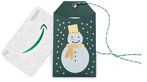 Amazon.com $10 Gift Card in a Green Snowman Tag