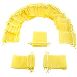 "50 Pack of 4"" x 6"" Yellow Drawstring Organza Storage Bags - Party Favor Pouch for Weddings, Showers, Birthdays & Holidays, Great for Gifts, Candy, Collectibles, & Jewelry by Brybelly"