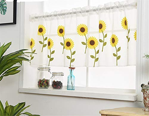 (WPKIRA Voile Sheer Valance - Kitchen Window Treatment Voile Valances Rod Pocket Embroidery Sunflower Sheer Tier Curtains for Small Window/French(Sunflower, 1 Panel Per Package, 39