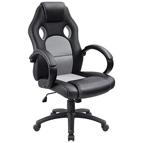 Furmax Office Chair Leather Desk Gaming Chair, High Back Ergonomic Adjustable Racing Chair,Task Swivel Executive Computer Chair Headrest and Lumbar Support Grey