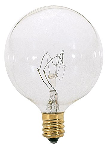 Satco 15G16 1/2 Incandescent Globe Light, 15W E12 G16 1/2, Clear Bulb [Pack of 12]