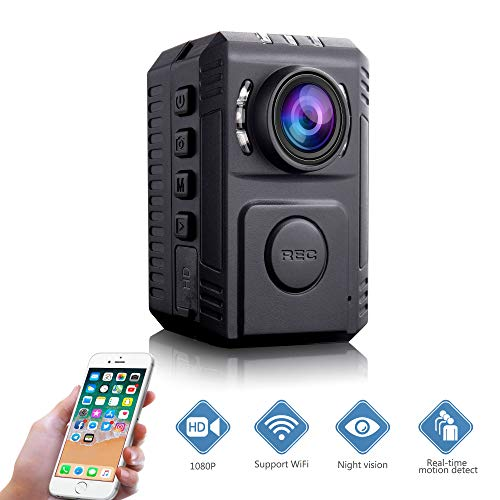 Mini Body Amount Camera – Wireless Person Wearable Camera, Portable HD Body Worn Camera, Surveillance Night Vision Pocket Camera with Phone App for Outdoor/Indoor – Hiking/Hunting/Camping/Marathon