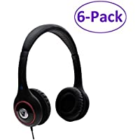 6-Pack V7 HA510-2NP-6 Black Stereo Headphones with 5.91 Ft Cable