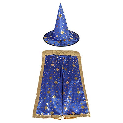 Zerodis Fancy Witch Wizard Cloak Cape Hat with Golden Stars Pattern Halloween Costumes for Kids Halloween Cosplay(Blue)]()