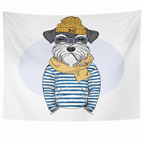 Ahawoso Tapestry 80 x 60 Inches Nordic Navy Schnauzer Dog Sailor Nautical Furry Wildlife Funny Fisherman Cool Frock Puppy Design Wall Hanging Home Decor Tapestries for Living Room Bedroom Dorm
