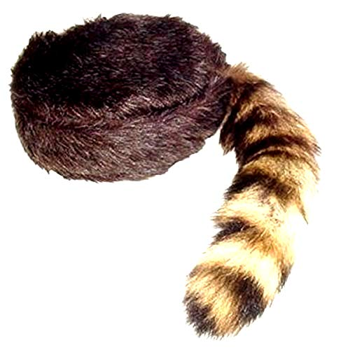 (Davy Crockett or Daniel Boon Style Coon Skin Hat with Real Tail (Medium))