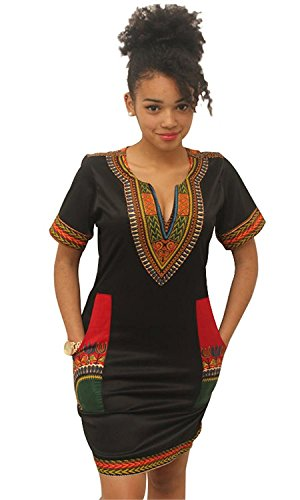 Knight Horse Sexy Tribal Print Dashiki For Women V Neck Plus Size Maxi Dress Black Medium