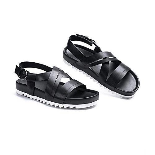uk Los Verano Zapatos Sandalias Desgaste Zapatillas De 42 Romana La Hombres Exterior Palabra Cuero Gruesas Eu Personalidad Jianxin tamaño Moda 12 10 us XzqEW1E6n