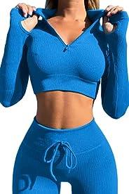 ACANI Workout Sets for Women 2 Piece Seamless Long Sleeve Crop Tops Ribbed High Waist Leggings