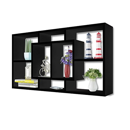Lykos Floating Shelf Hanging Storage Unit Wall Mount Display Rack Black by Lykos