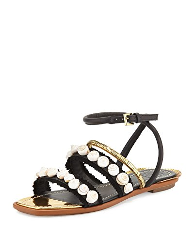 Tory Burch Sinclair Black Gold Sandals - Flat Tory Nude Burch