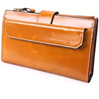 AINIMOER Women's Large Capacity Genuine Leather Wallet Long Card Case Zippered Purse