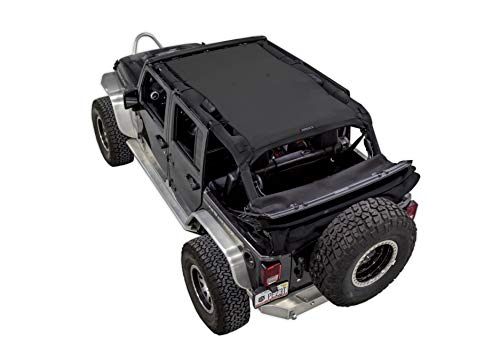 SPIDERWEBSHADE Jeep Wrangler Mesh Shade Top Sunshade UV Protection Accessory USA Made with 5 Year Warranty for Your JKU 4-Door (2007-2018) in Black