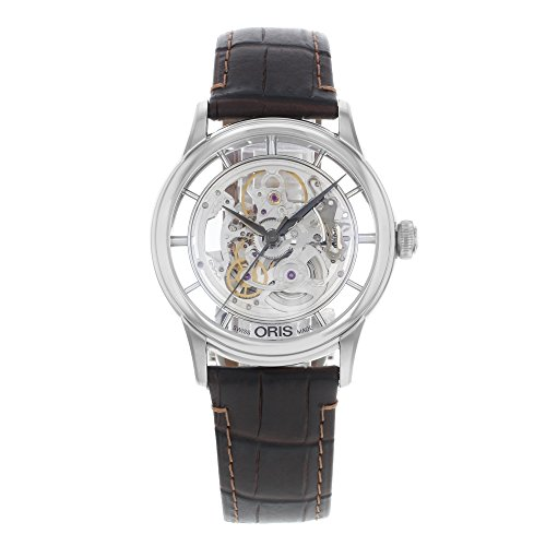 Oris Artelier Skeleton Dial Brown Leather Mens Watch 01 734 7684 4051-07 5 21 70FC
