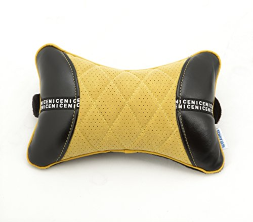 Sojoy LEATHER Car Neck Pillow (Soft Version) Lovely Breathable Car Head Neck Rest Cushion Headrest Pillow (Black&Yellow)