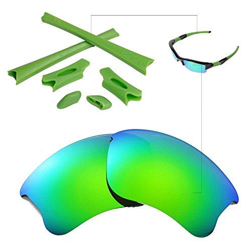 Walleva Emerald Polarized Lenses And Green Rubber Kit For Oakley Flak Jacket - Flak Green Jacket