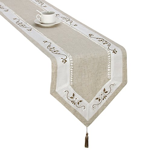 Handmade Hemstitched Classic Embroidered Natural Table Runners And Dresser Scarves (15×53 inch)