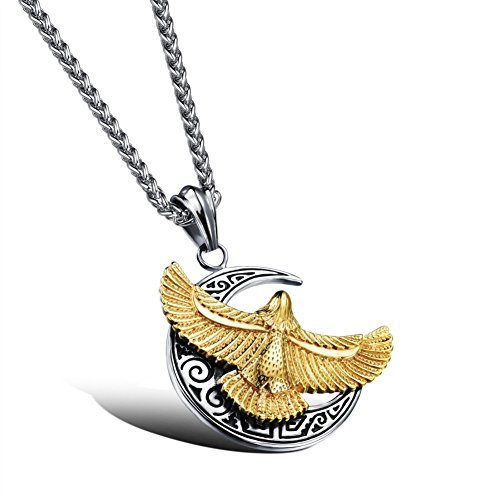 Sinkfish NL80072 Eagle Necklace for Men,Domineering & Retro Personalized Necklace - (2007 Panda Gold Coins)