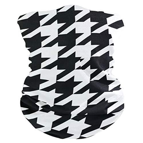 DKRetro Face Sun Mask Houndstooth Print, Neck Gaiter Headwear Headband Bandana Magic Scarf for Outdoor - Band Houndstooth