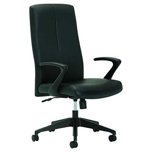 OIF AV4119 Executive High-Back Chair, Fixed Open Loop Arms, Black by OIF