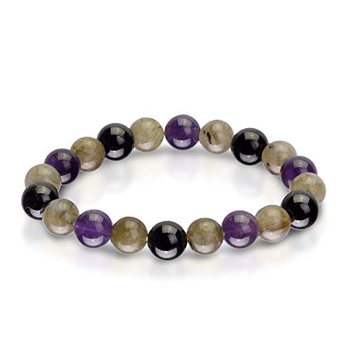 (Triple Stone Ultimate Protection Bracelet - Healing Balancing - Labradorite - Amethyst - Black Tourmaline - Bracelet for Protection -Elastic Natural Stone Yoga Bracelet (10mm )