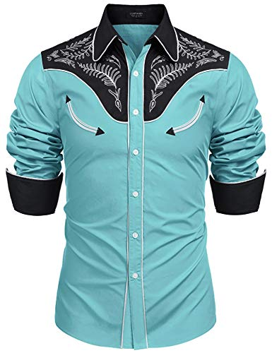 COOFANDY Men's Western Cowboy Embroidered Cotton Long Sleeve Button Down Shirt (Western Show Shirts Men)