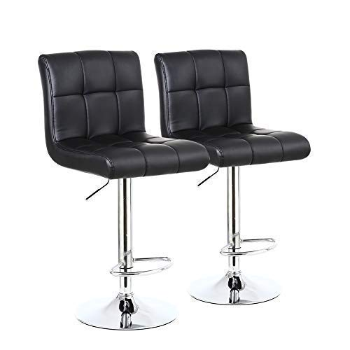 KKTONER Modern Square pu Leather Height Adjustable Swivel bar stools with Back Set of 2 Counter Height Stool Chairs with Chrome Base Black
