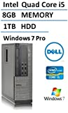 2016 Dell Optiplex 7010 Business Desktop Computer (Intel Quad Core i5 up to 3.6GHz Processor), 8GB DDR3 RAM, 1TB HDD, USB 3.0, DVDRW, Windows 7 Professional (Certified Refurbished)