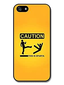 Parody Funny 300 Caution Sign This is Sparta Quote case for iPhone 5 5S