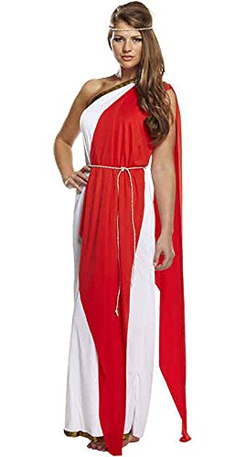 Ladies Greek Goddess Red Lady Out Fit Womens Fancy Dress Hen Night Party Costume One Size Fits US 4-10 -